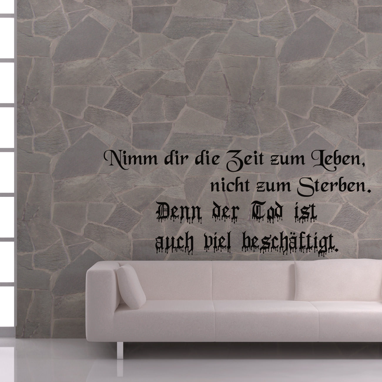 wandspruch zeit leben tod f r wohnzimmer wohnbereich wandtattoo sunnywall. Black Bedroom Furniture Sets. Home Design Ideas
