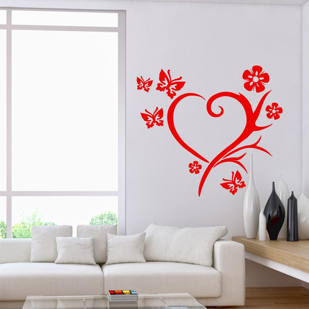herz geflecht schmetterlinge blumen f r wohnzimmer wohnbereich wandtattoo. Black Bedroom Furniture Sets. Home Design Ideas