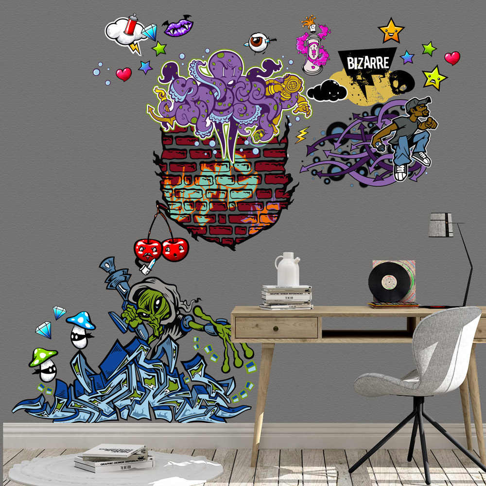 Graffiti Wandtattoo Xxl Set Verschiedene Motive Kinderzimmer Aufkleber Bunt Wanddeko Sunnywall Online Shop