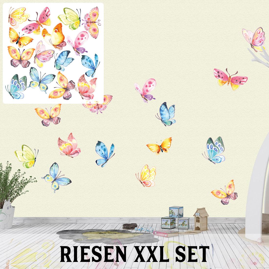 Schmetterlinge Wandtattoo Xxl Set Verschiedene Motive Kinderzimmer Aufkleber Bunt Wanddeko Sunnywall Online Shop