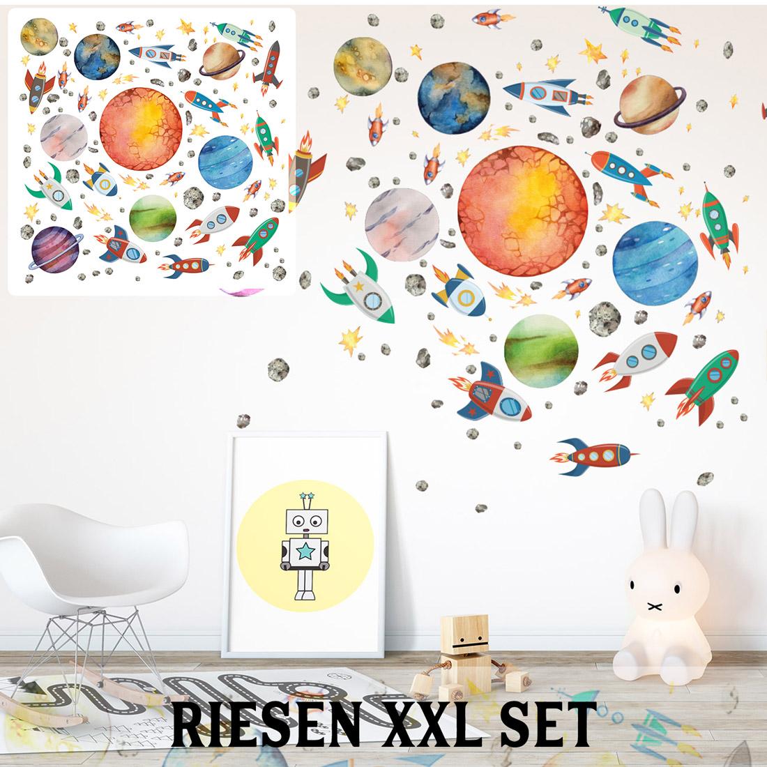 Weltraum Wandtattoo Xxl Set Verschiedene Motive Kinderzimmer Aufkleber Bunt Wanddeko Sunnywall Online Shop