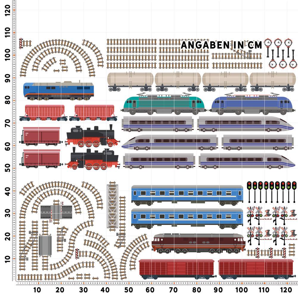 Eisenbahn Wandtattoo Xxl Set Verschiedene Motive Kinderzimmer Aufkleber Bunt Wanddeko Sunnywall Online Shop