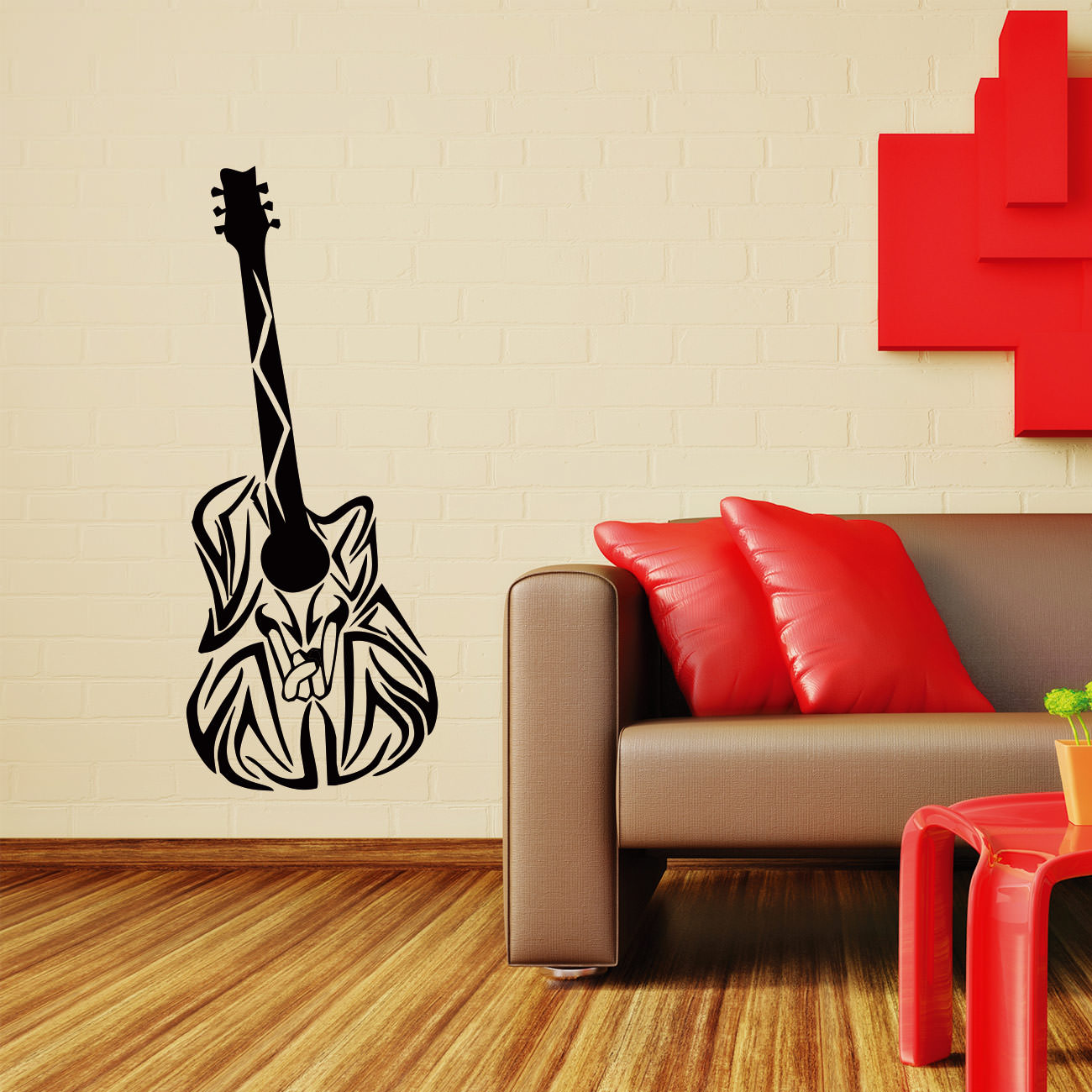 wandtattoos gitarre musik f r hobbybereich od wohnzimmer. Black Bedroom Furniture Sets. Home Design Ideas