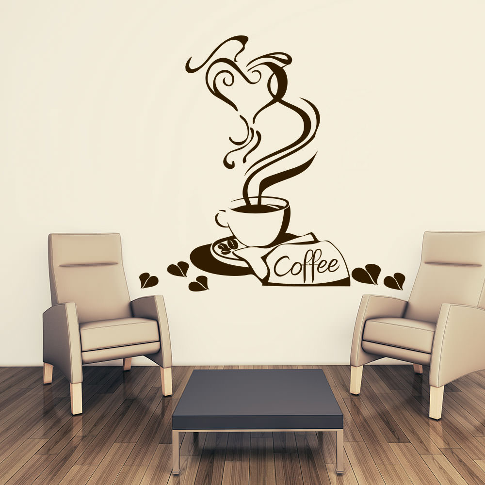 wandtattoo kaffeeherz gourmetkaffee f r deine k che sunnywall online shop. Black Bedroom Furniture Sets. Home Design Ideas