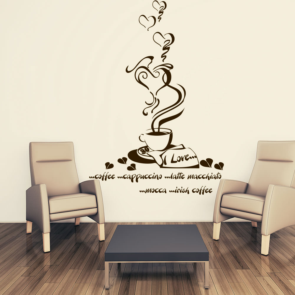 wandtattoo kaffeeherz gourmetkaffee ii f r deine k che sunnywall online shop. Black Bedroom Furniture Sets. Home Design Ideas