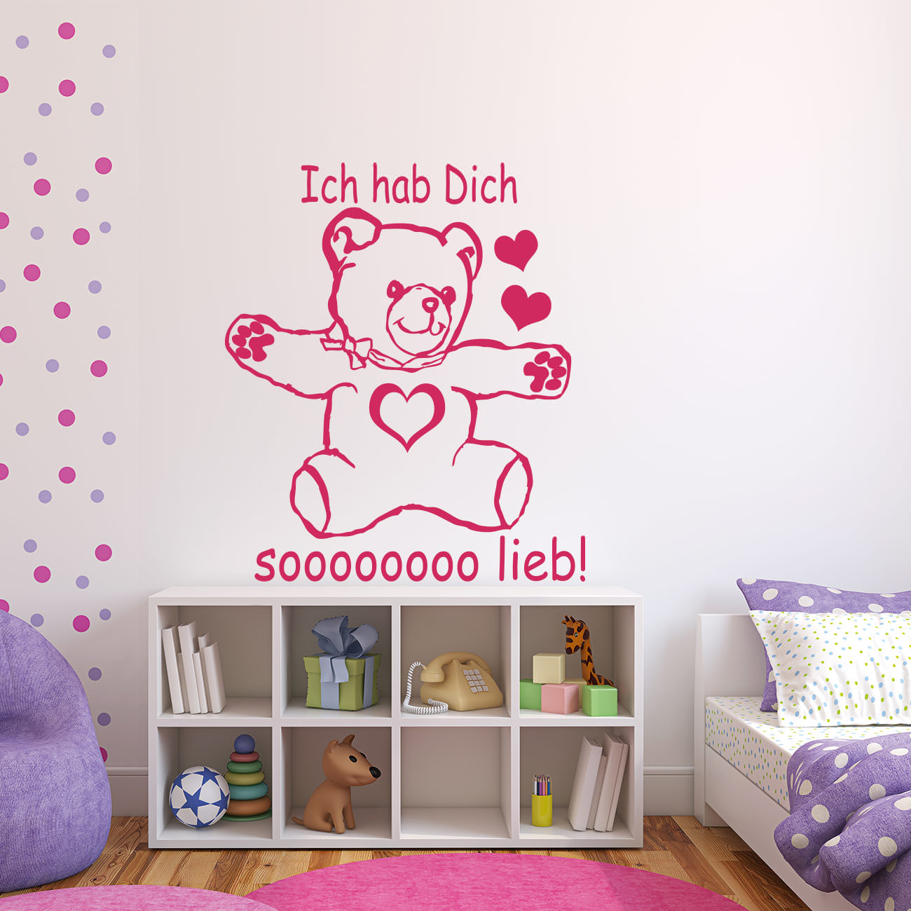 wandtattoo teddyb r ich hab dich lieb f r kinderzimmer sunnywall online shop. Black Bedroom Furniture Sets. Home Design Ideas