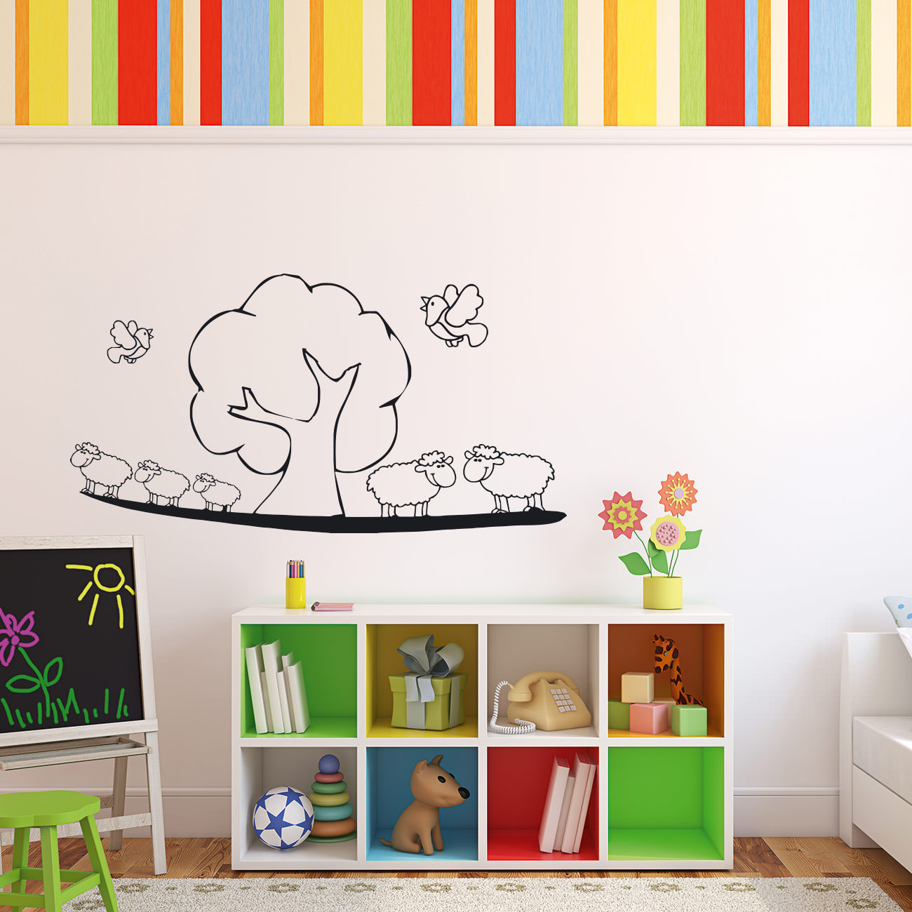 schaf landschaftf r wohnzimmer kinderzimmer wandtattoo sunnywall online shop. Black Bedroom Furniture Sets. Home Design Ideas