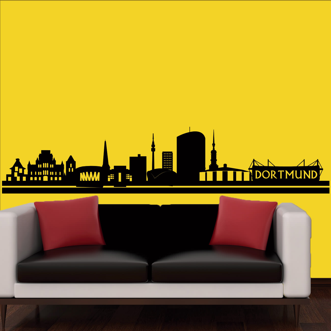skyline wandtattoo dortmund sunnywall online shop. Black Bedroom Furniture Sets. Home Design Ideas