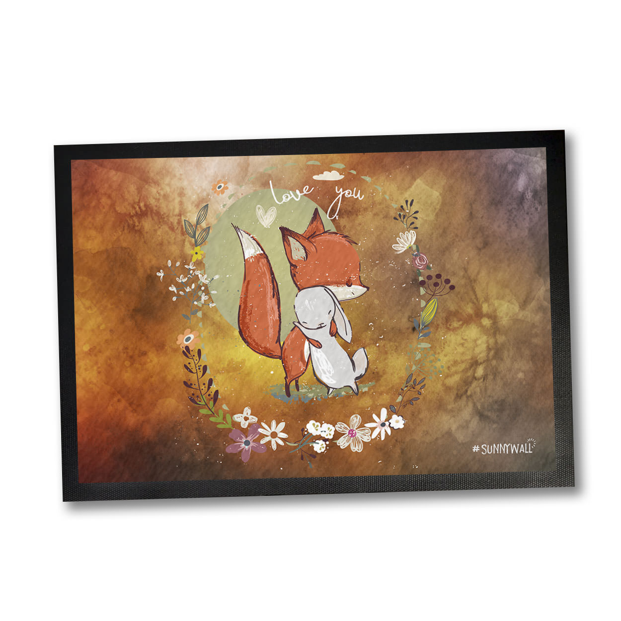 35 x 50 fußmatte fuchs fox hase rabbit in love | sunnywall online-shop