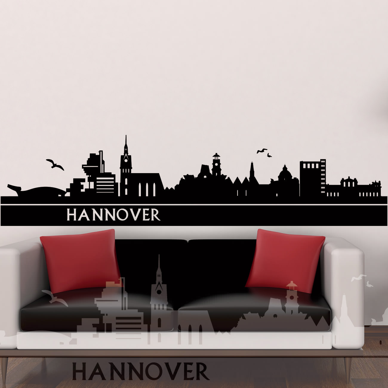 skyline wandtattoo hannover sunnywall online shop. Black Bedroom Furniture Sets. Home Design Ideas
