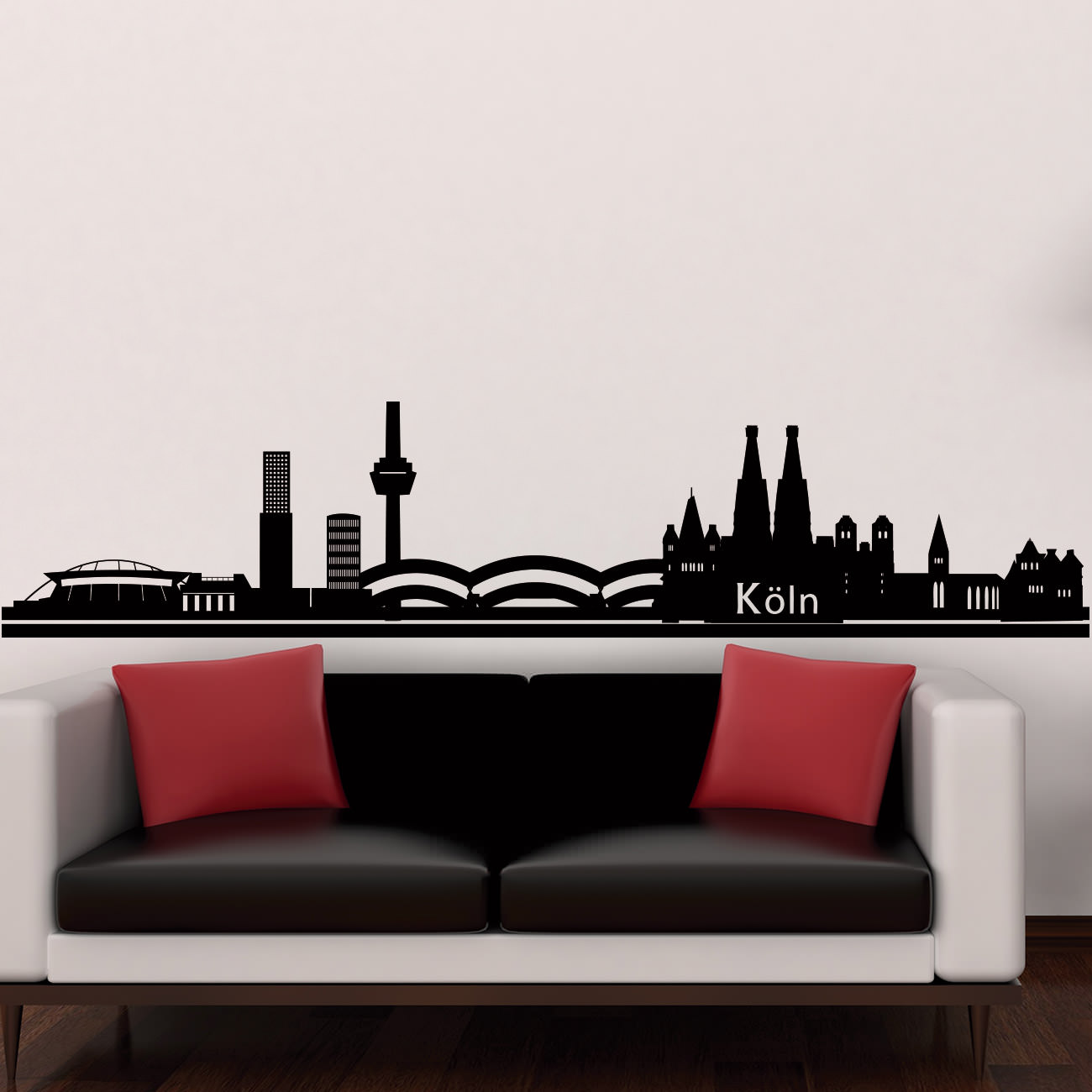 skyline wandtattoo k ln sunnywall online shop. Black Bedroom Furniture Sets. Home Design Ideas