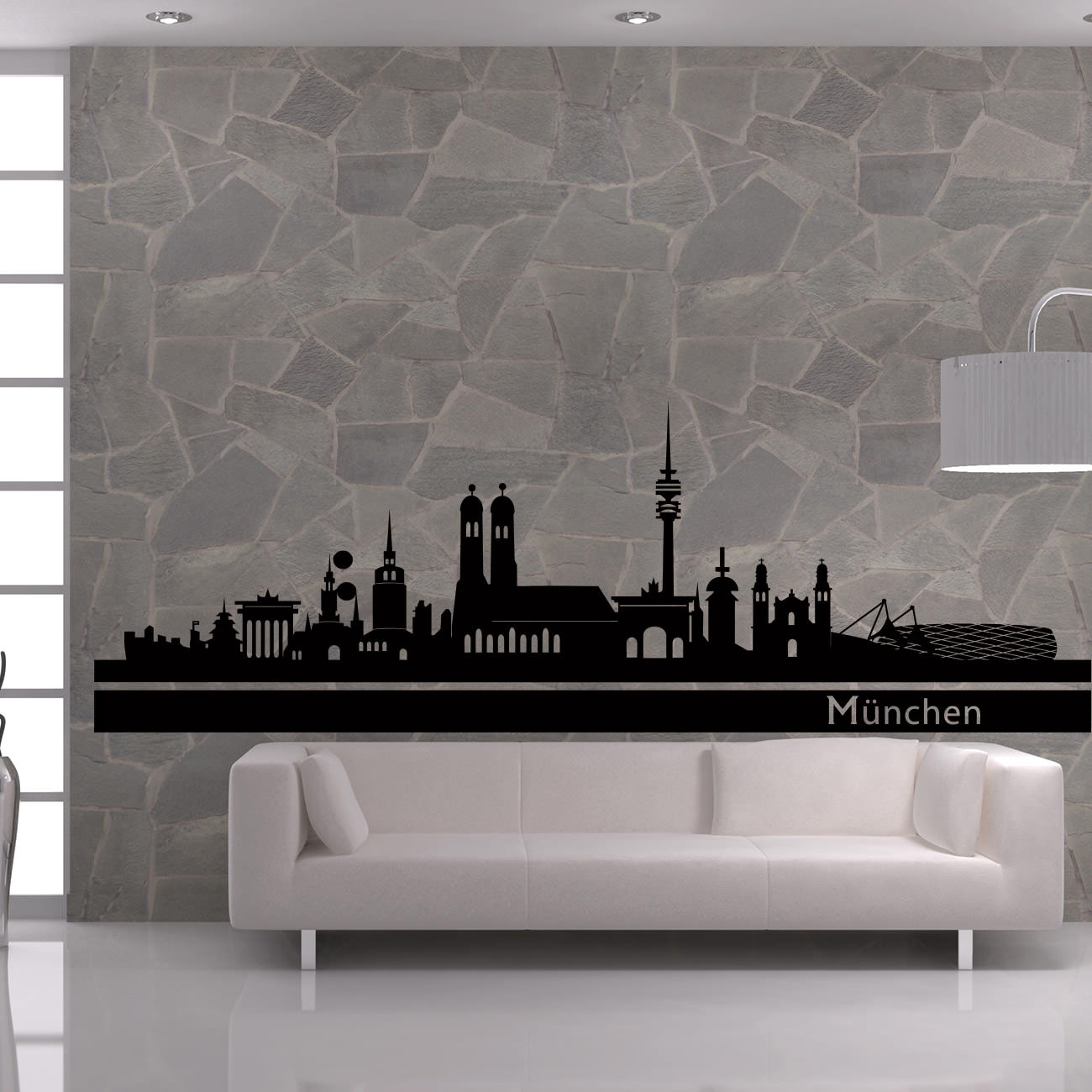 skyline wandtattoo m nchen sunnywall online shop. Black Bedroom Furniture Sets. Home Design Ideas