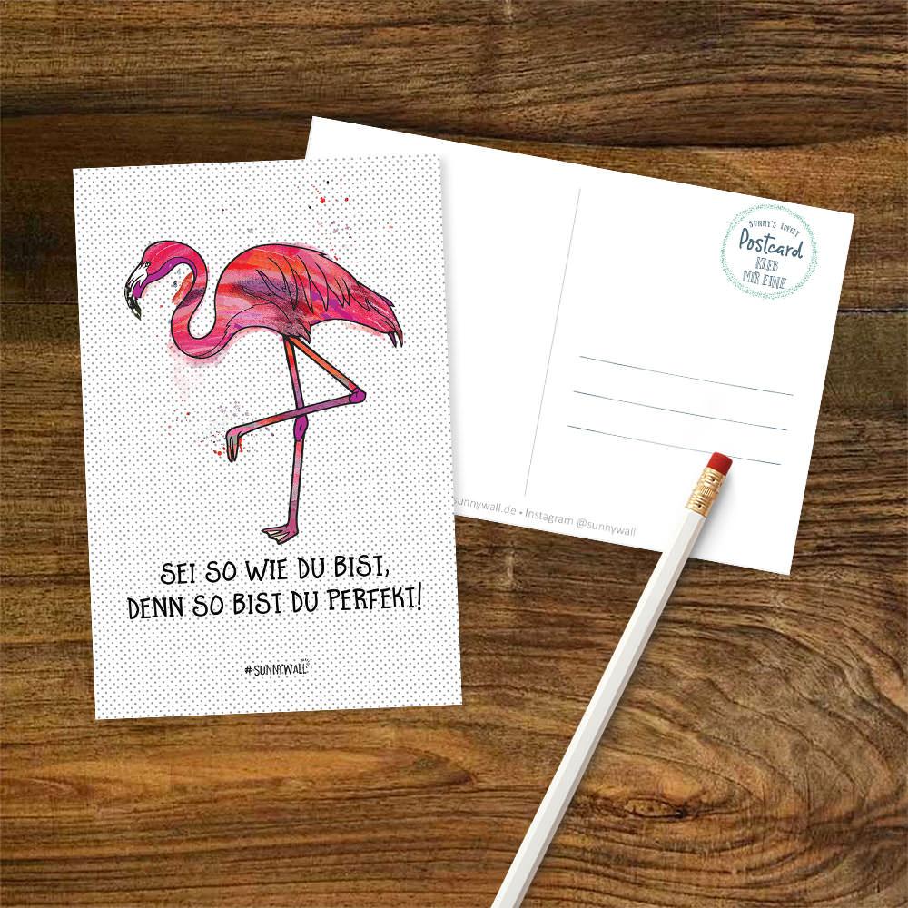 Postkarte Flamingo - Sei wie Du bist, denn so bist du