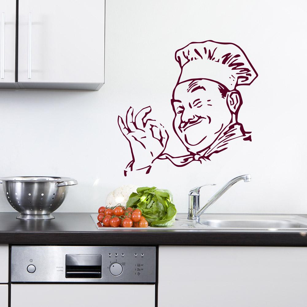 Küchenchef Koch für Wohnzimmer & Küche Wandtattoo Sunnywall.de ...