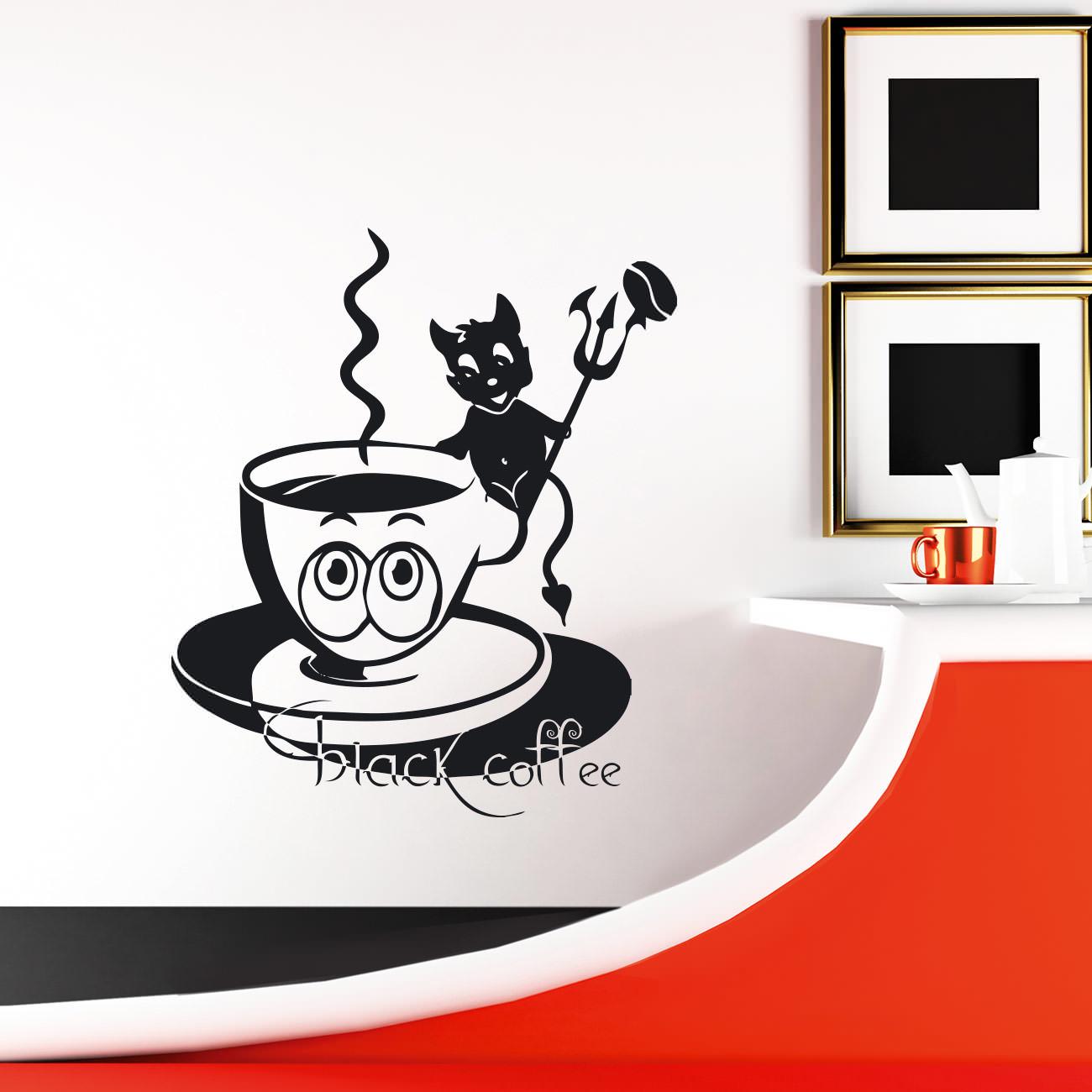 Wandtattoo Ted die Kaffeetasse mit Teufelchen - Böser Kaffee