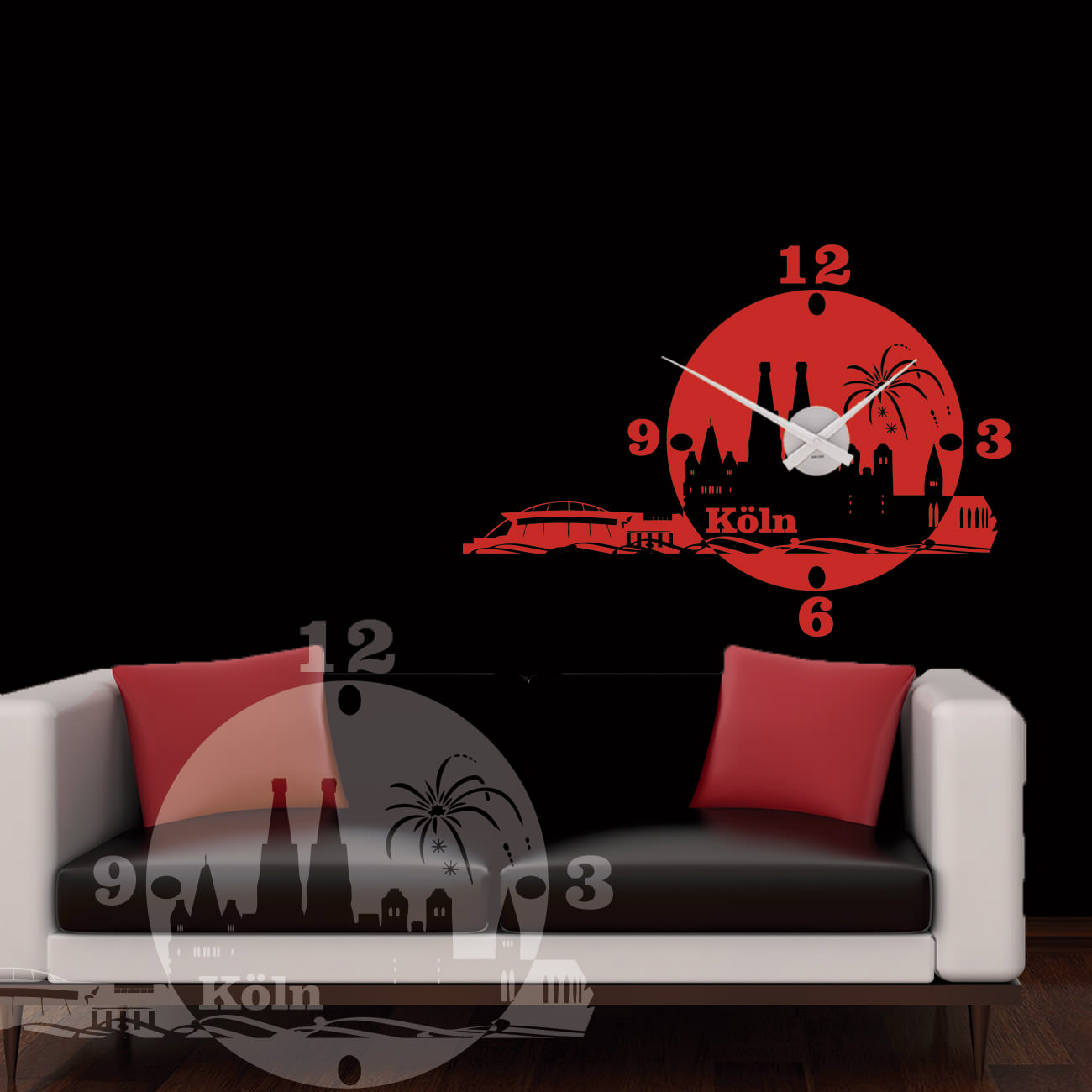 wanduhr k ln als skyline sunnywall online shop. Black Bedroom Furniture Sets. Home Design Ideas