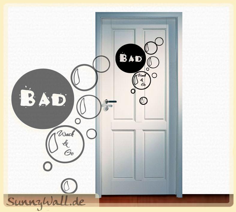 wandtattoo shop bad wash go f r die badt r. Black Bedroom Furniture Sets. Home Design Ideas