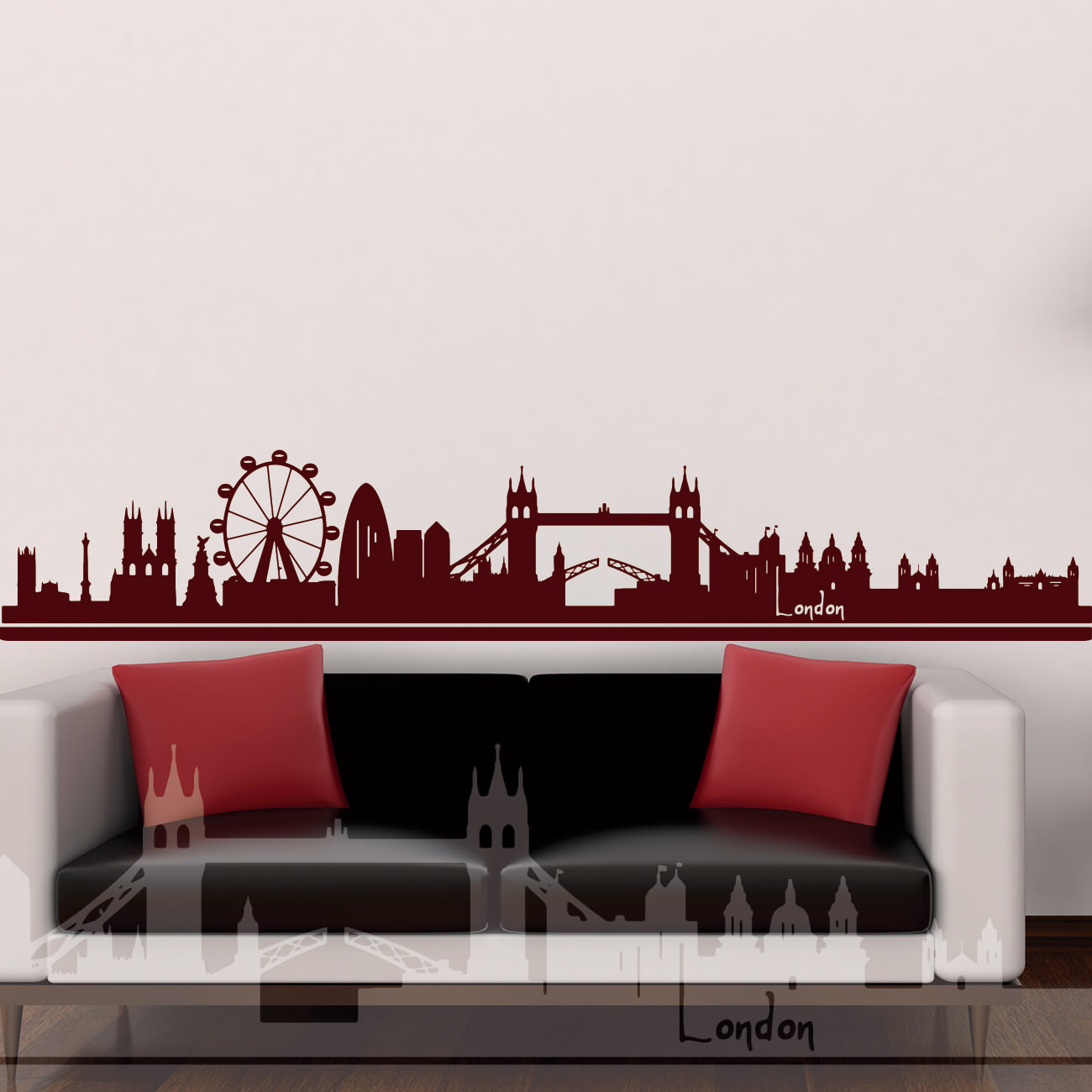 skyline wandtattoo london england sunnywall online shop. Black Bedroom Furniture Sets. Home Design Ideas