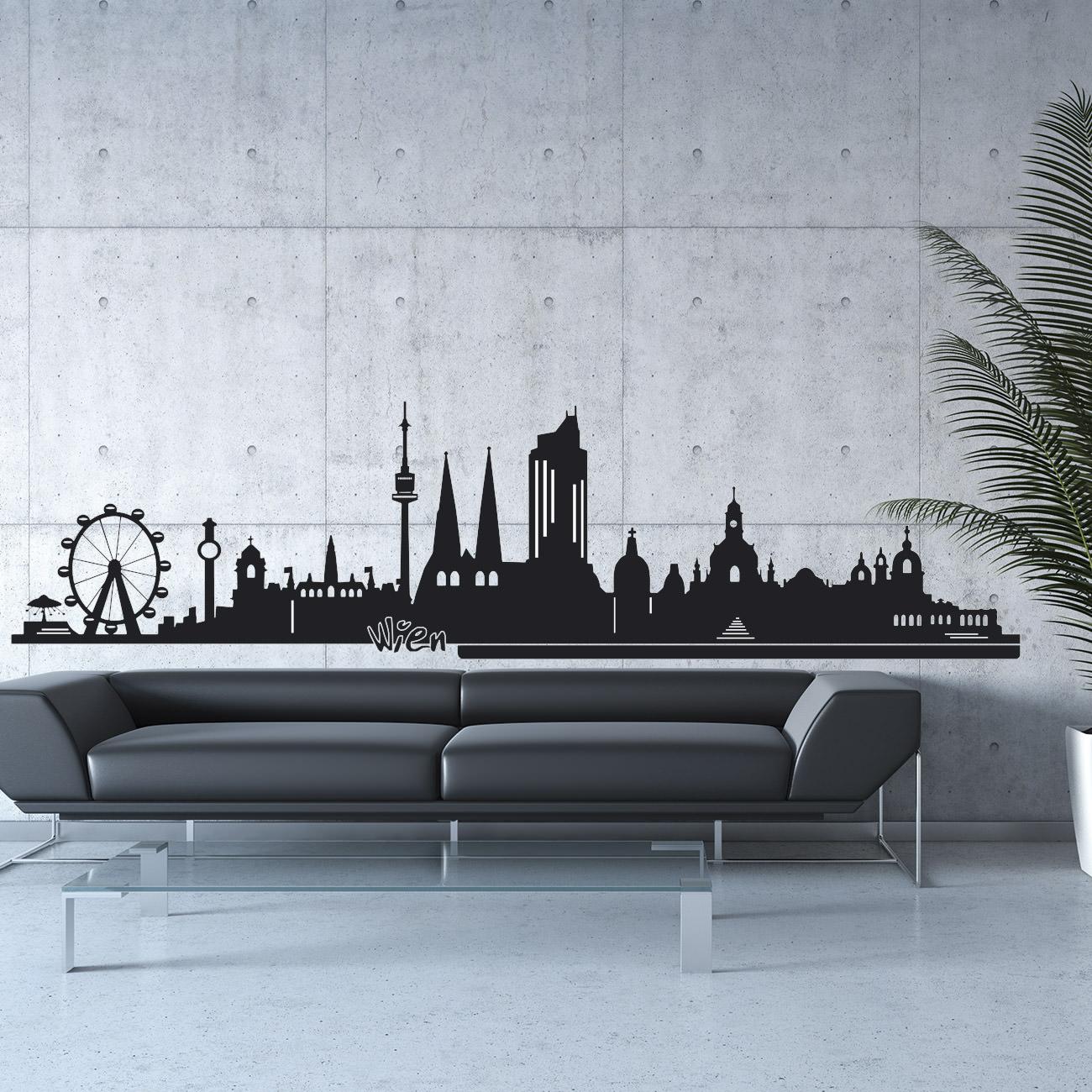 skyline wandtattoo wien sunnywall online shop. Black Bedroom Furniture Sets. Home Design Ideas