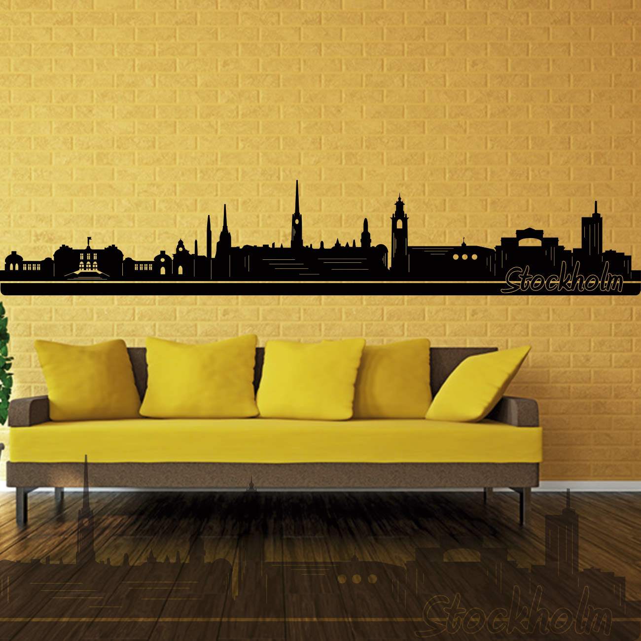 skyline wandtattoo stockholm sunnywall online shop. Black Bedroom Furniture Sets. Home Design Ideas