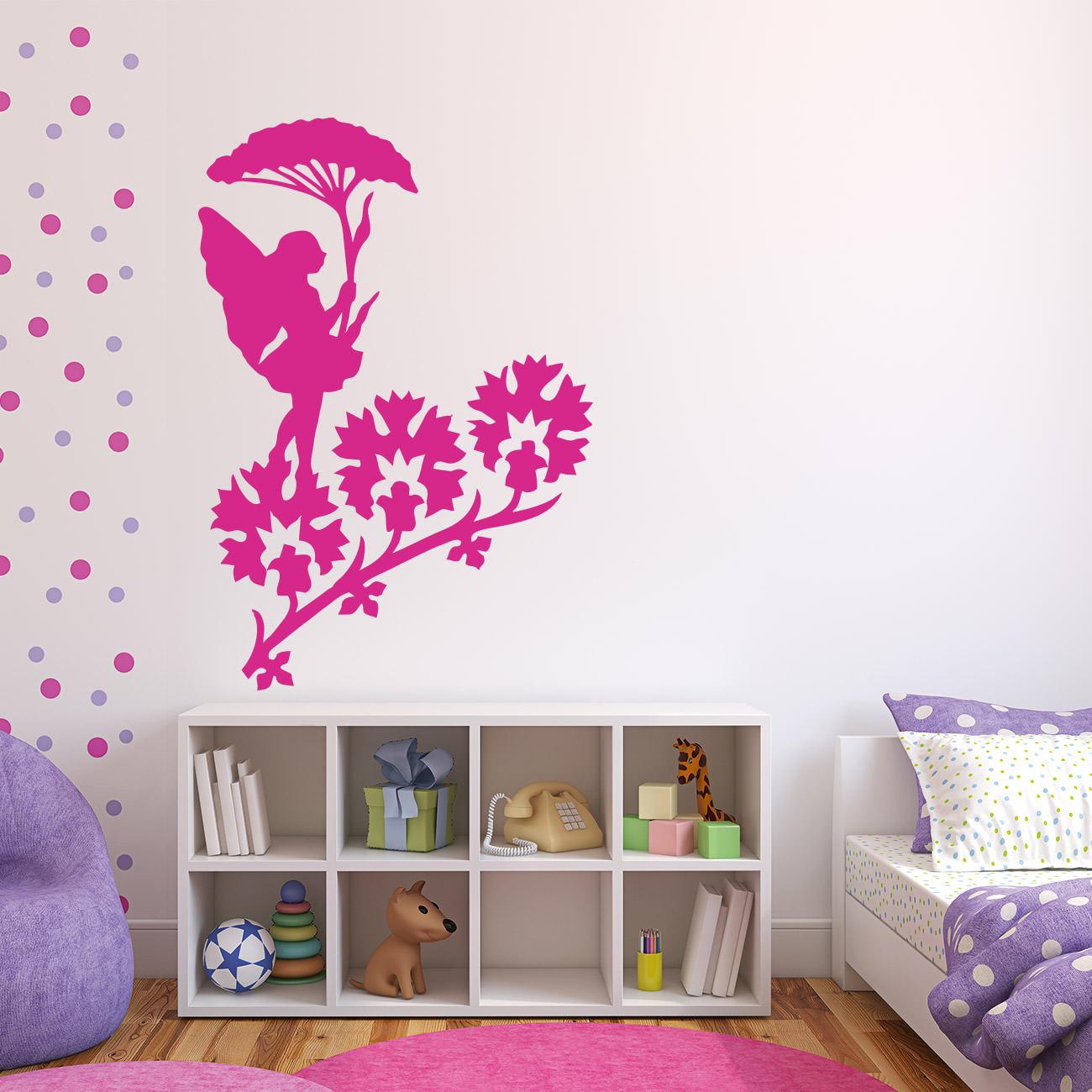 fee mit blumenschirm f r wohnzimmer kinderzimmer wandtattoo sunnywall online shop. Black Bedroom Furniture Sets. Home Design Ideas