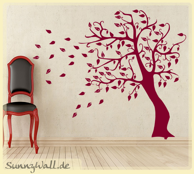 wandtattoo shop wandtattoo herbstbaum baum baum im wind bl tter. Black Bedroom Furniture Sets. Home Design Ideas