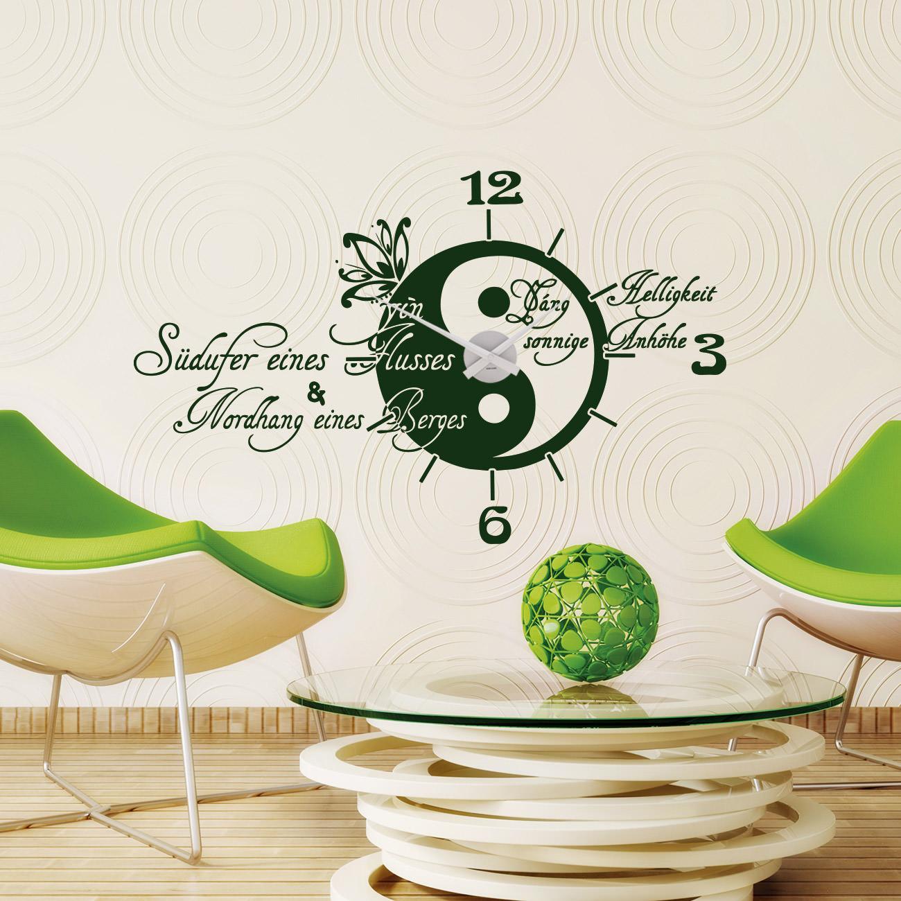 wandtattoo uhr ying yang sunnywall online shop. Black Bedroom Furniture Sets. Home Design Ideas
