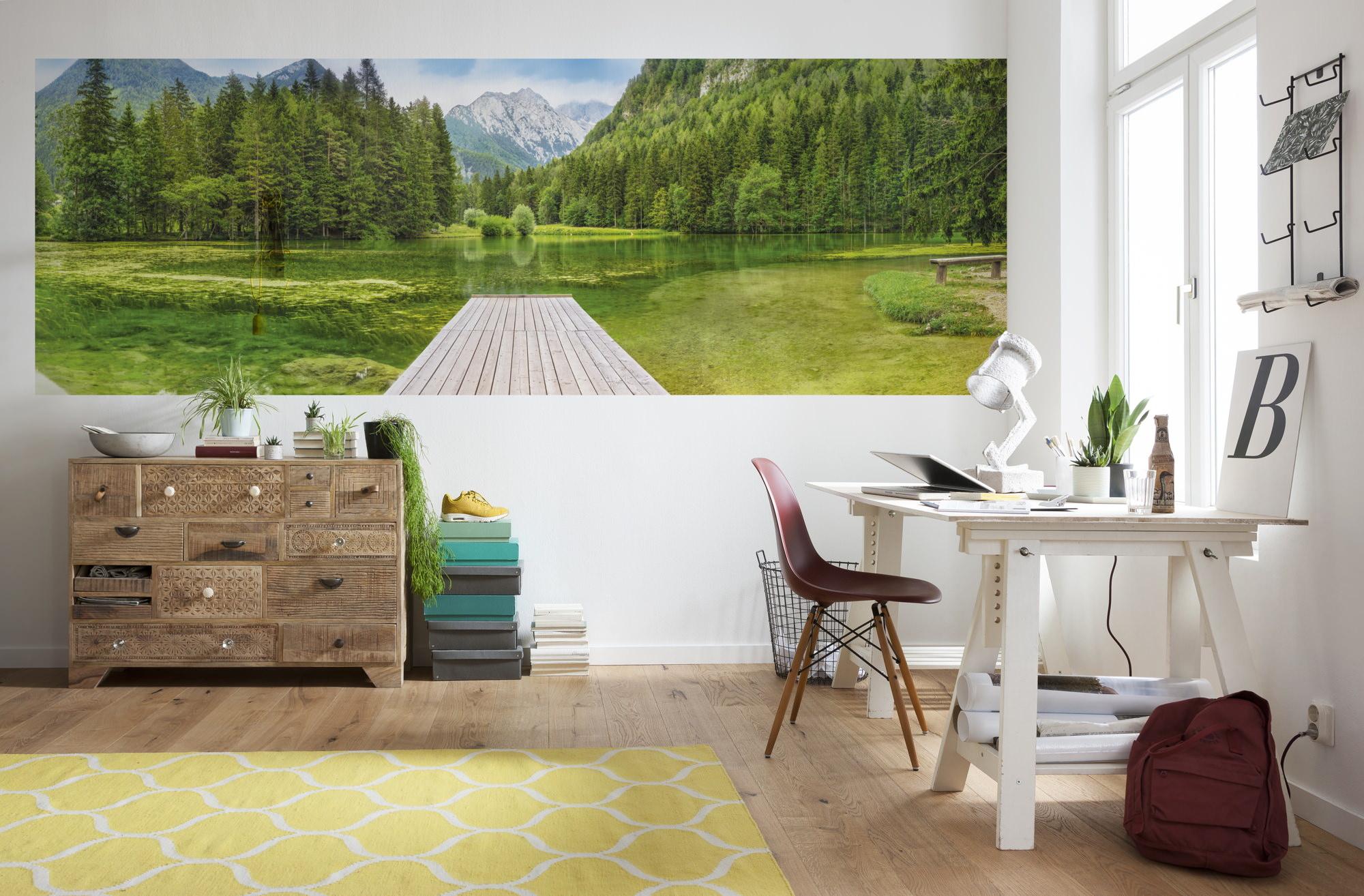 fototapete green lake sunnywall online shop. Black Bedroom Furniture Sets. Home Design Ideas