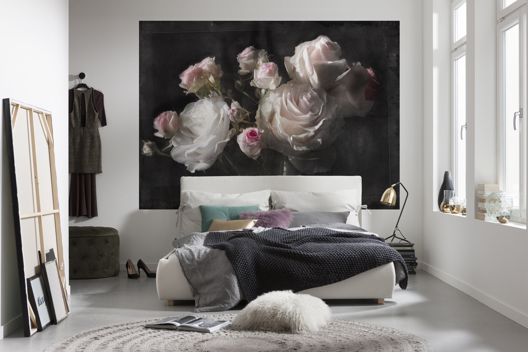 fototapete eternity dark floral blumen blumentapete rosenknospen sunnywall online shop. Black Bedroom Furniture Sets. Home Design Ideas