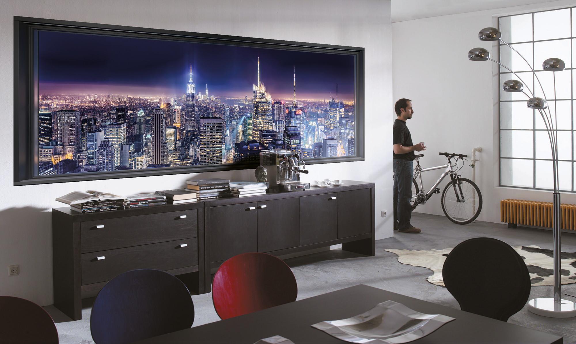 fototapete sparkling new york skyline sunnywall online shop. Black Bedroom Furniture Sets. Home Design Ideas