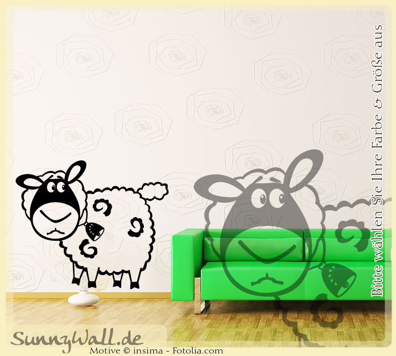 Wandtattoo schaf sheep wolle vers2 sunnywall online shop for Wandtattoo schaf kinderzimmer