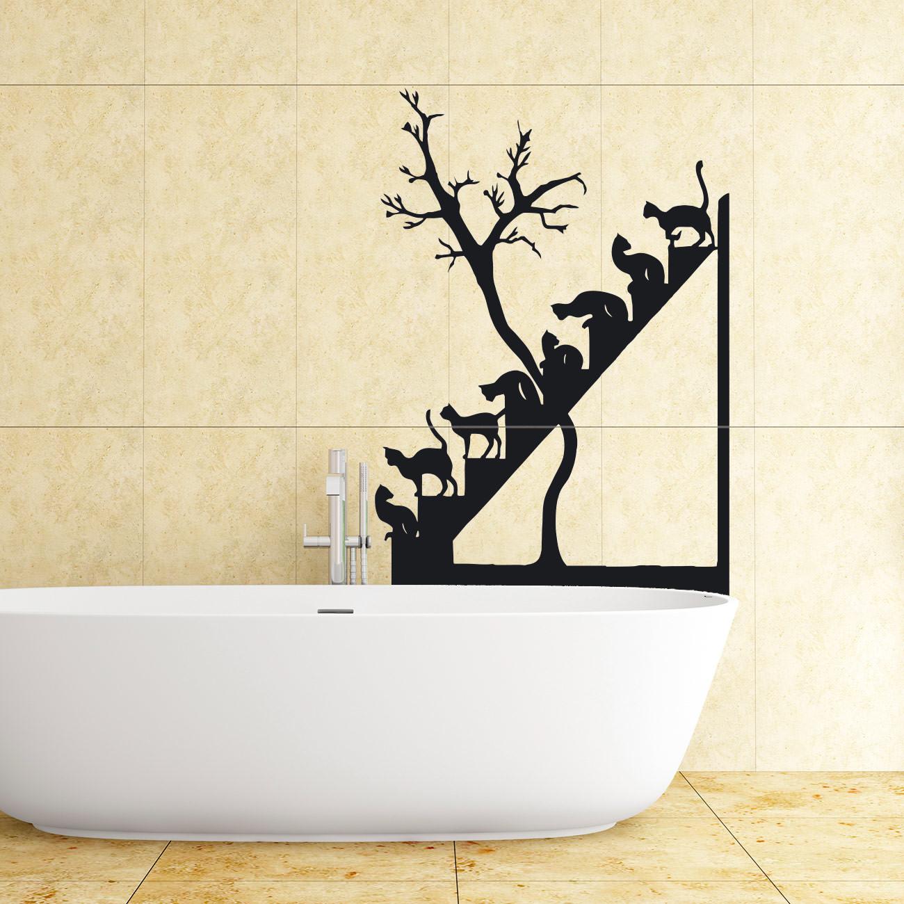 katzentreppe f r wohnzimmer wohnbereich wandtattoo sunnywall online shop. Black Bedroom Furniture Sets. Home Design Ideas