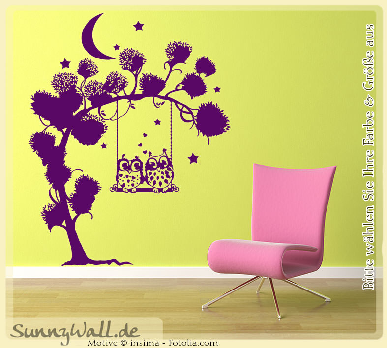 wandtattoo 2 eulen auf schaukel baum sunnywall online shop. Black Bedroom Furniture Sets. Home Design Ideas