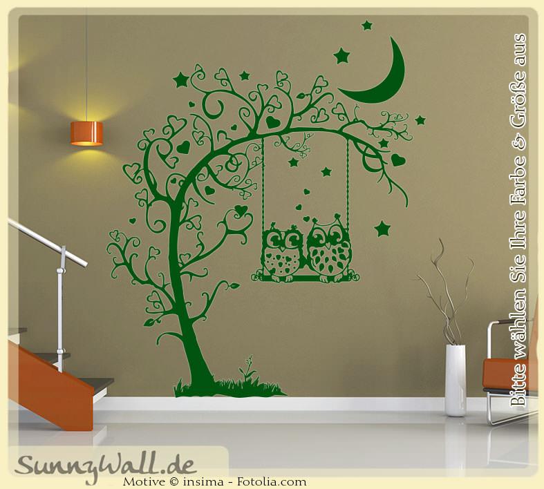 wandtattoo 2 eulen auf schaukel herzen baum sunnywall online shop. Black Bedroom Furniture Sets. Home Design Ideas