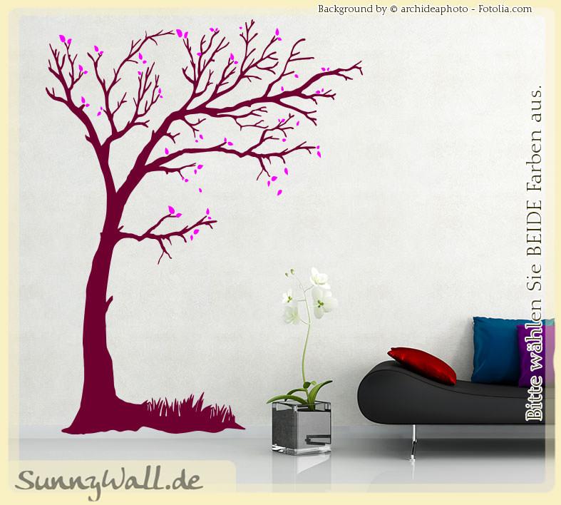 wandtattoo baum wind bl tter ast strauch sunnywall online shop. Black Bedroom Furniture Sets. Home Design Ideas