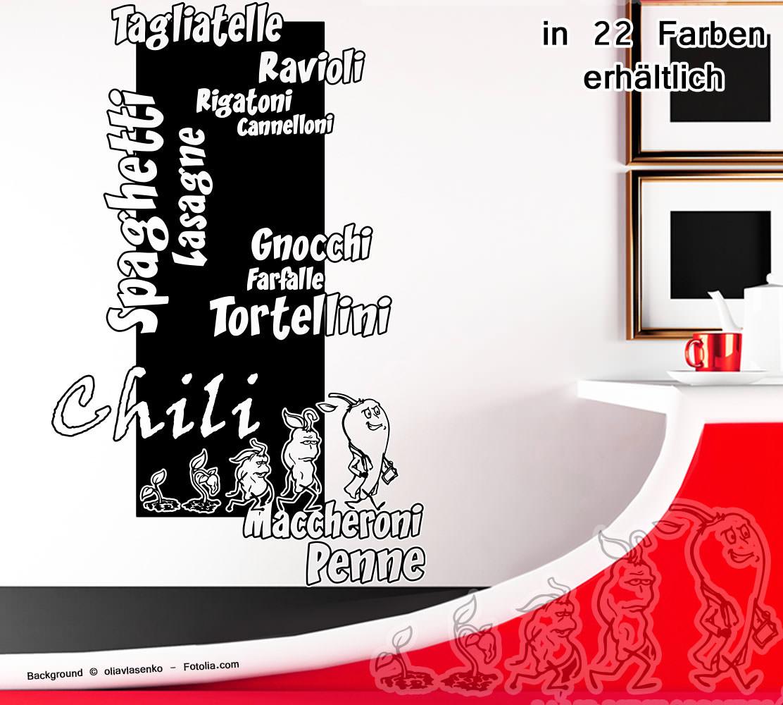 Wandtattoo Wandaufkleber Küche Chili Nudeln Evolution | Sunnywall ...