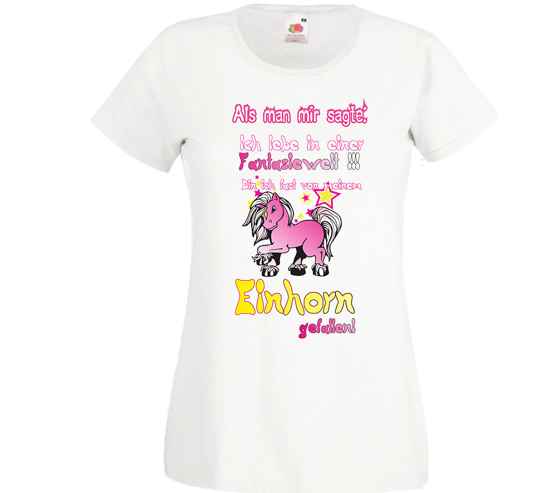 fun t shirt weiblich lebe in fantasiewelt einhorn. Black Bedroom Furniture Sets. Home Design Ideas