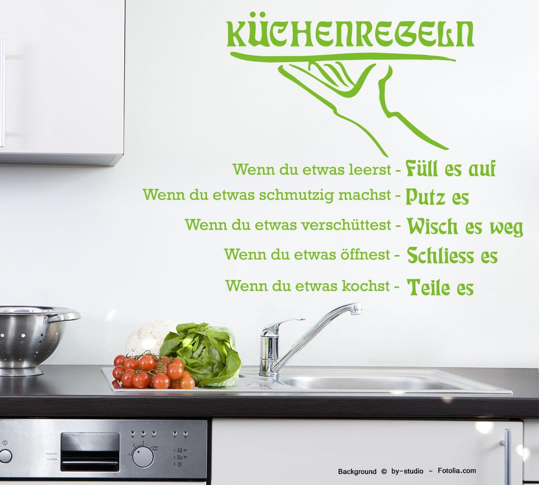 Wandtattoo Wandaufkleber Küche Küchenregeln Regeln | Sunnywall ...