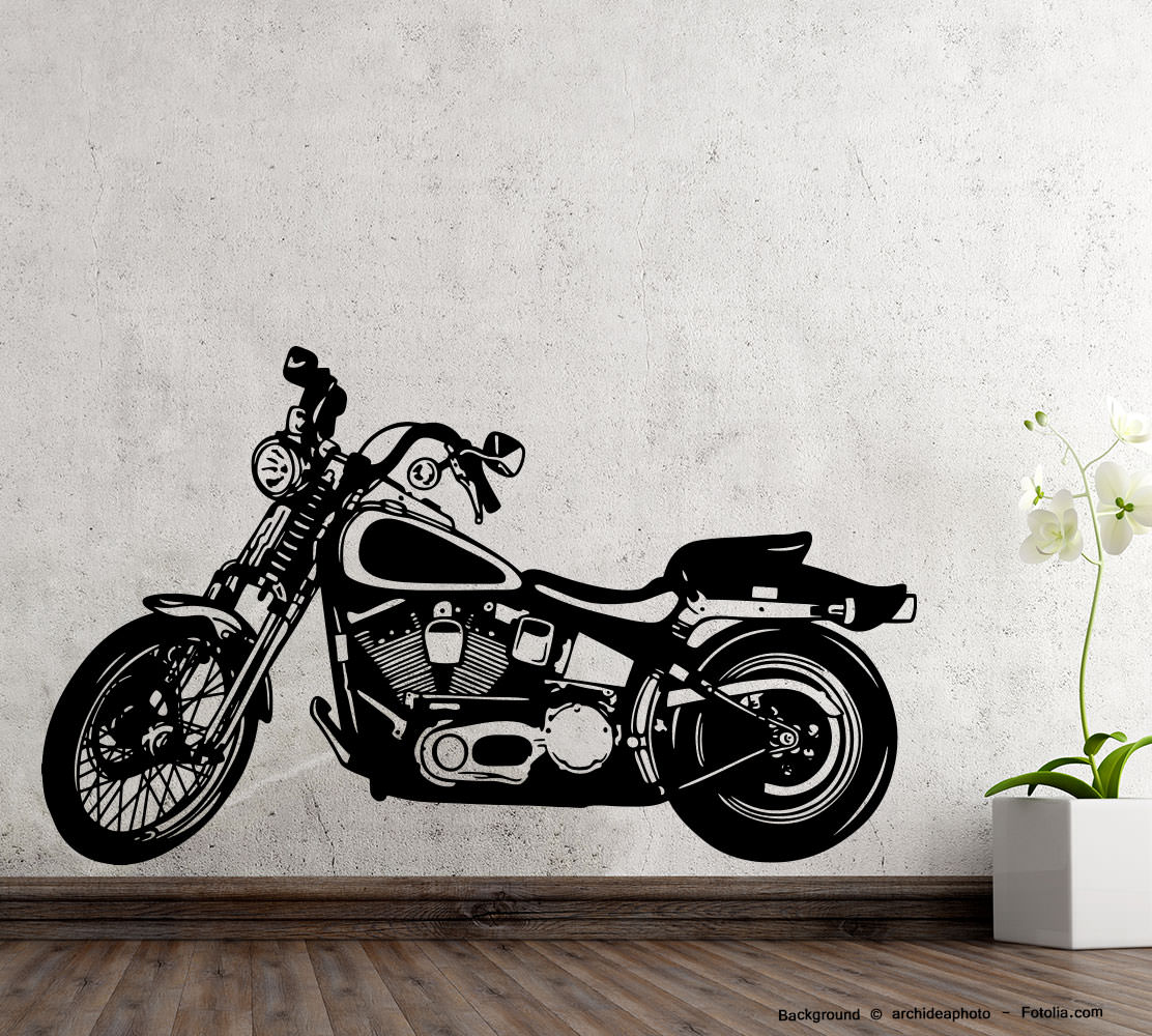 wandaufkleber motorrad motorcycle motorbike sunnywall. Black Bedroom Furniture Sets. Home Design Ideas