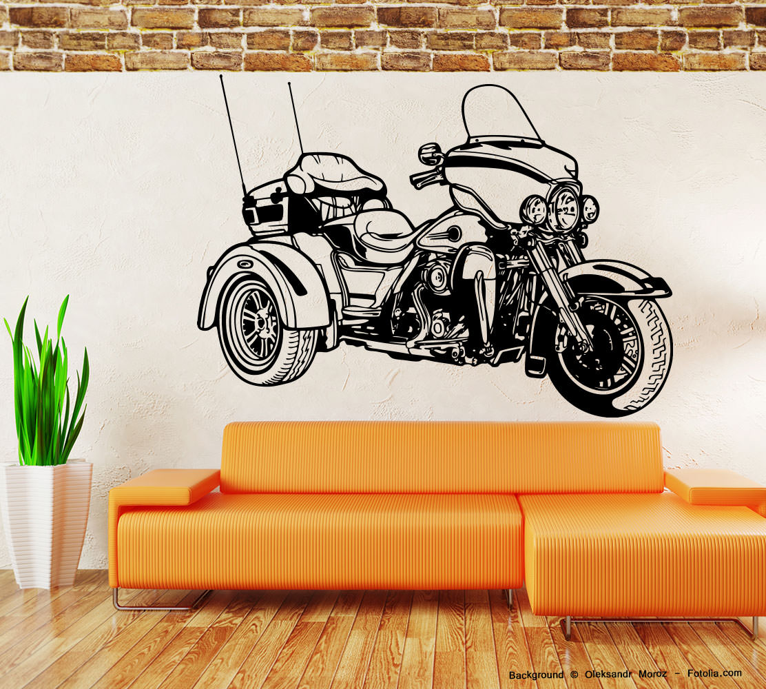 wandaufkleber motorrad motorcycle motorbike trike. Black Bedroom Furniture Sets. Home Design Ideas