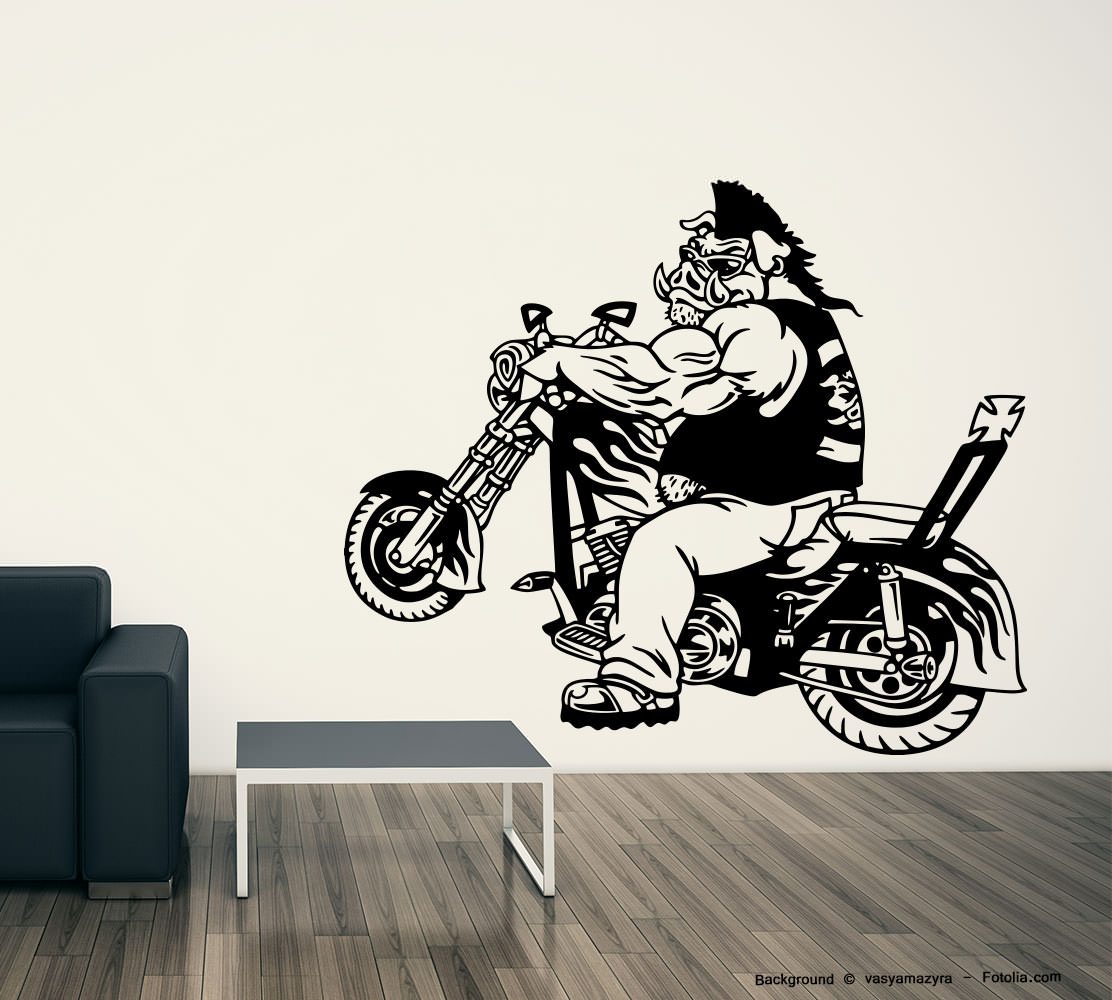 wandaufkleber rocker schwein biker kreuz cross sunnywall. Black Bedroom Furniture Sets. Home Design Ideas
