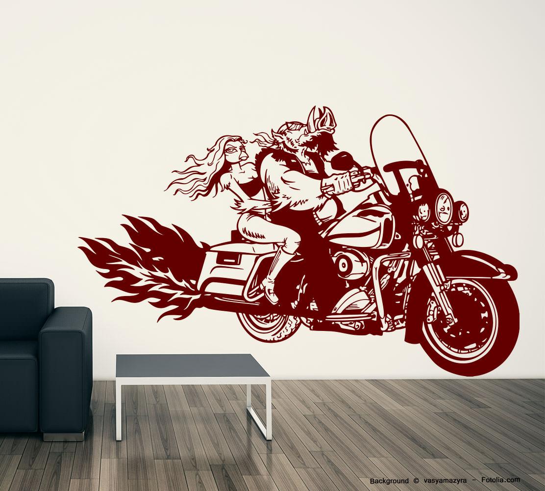 Wandaufkleber rocker schwein biker vogel bikergirl sunnywall online shop - Motorrad wandtattoo ...