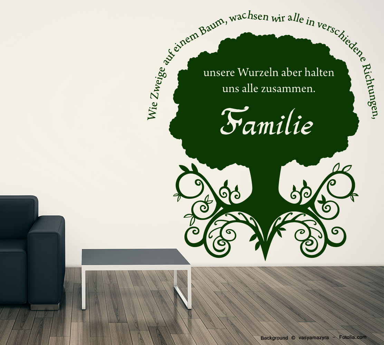 wandaufkleber familienbaum baum wurzeln tree family sunnywall online shop. Black Bedroom Furniture Sets. Home Design Ideas