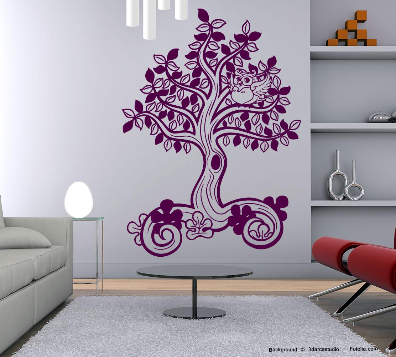 wandaufkleber baum lebensbaum eule sunnywall online shop. Black Bedroom Furniture Sets. Home Design Ideas
