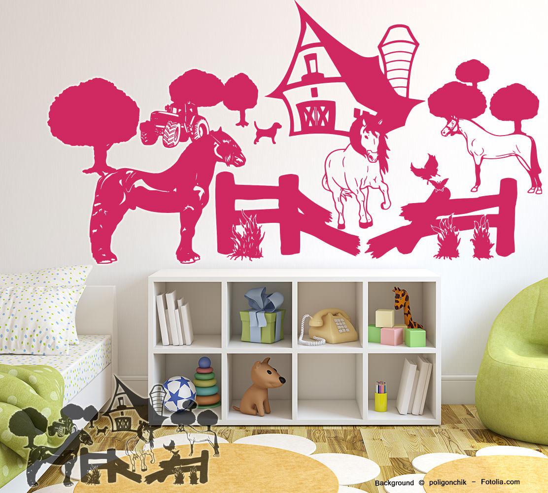 wandtattoo bauernhof pferdehof pferde niedlich. Black Bedroom Furniture Sets. Home Design Ideas
