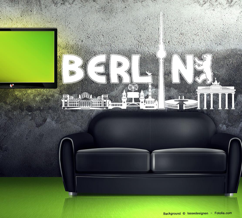 Berlin Wandtattoo wandtattoo wandaufkleber berlin skyline stadt | sunnywall online-shop