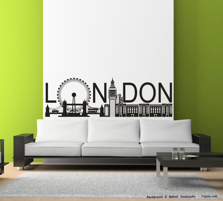Wandtattoo wandaufkleber london england sunnywall online shop - Skyline london wandtattoo ...