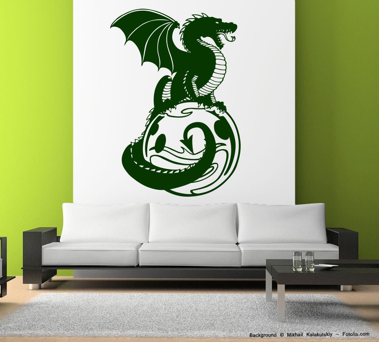 Amüsant Wandtattoo Drachen Foto Von 765-drache-auf-en-erden-wandaufkleber
