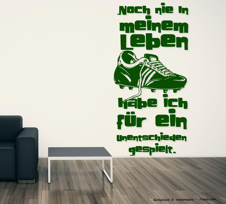 wandtattoo fussball soccer nie in meinem leben auf untentschieden sunnywall online shop. Black Bedroom Furniture Sets. Home Design Ideas