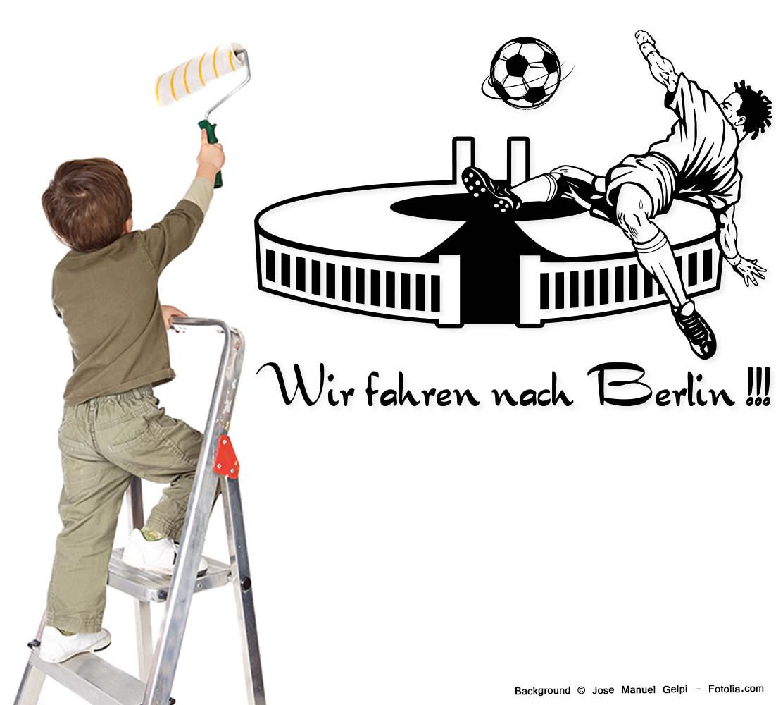 Attraktiv Wandtattoo Fußball Galerie Von 770-fussball-soccer-wir-fahren-nach-berlin-wandtattoo-